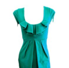 Teal Blue Dress A Line Dress Ruffle Frill Dress Scoop Neck Suitable for Maternity. $79.90, via Etsy.