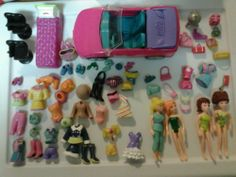 Polly Pocket Dolls Clothes Plastic Lot 75 Pieces Car Bed Chair Shoes