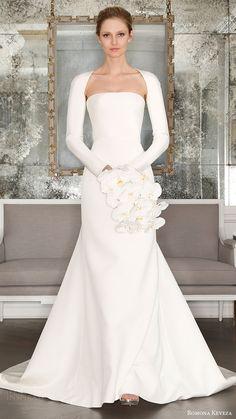 romona keveza bridal spring 2017 strapless straightacross trumpet wedding  dress optional long sleeve shrug Abiti Da 30bb47e6a33
