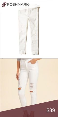 68c0450a5c86b4 NEW High Rise Cropped Super Skinny Jeans New with tags. White Distressed  High Rise Cropped