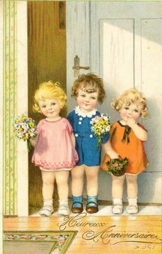 These sweet and innocent faces are painted by Pauli Ebner, Pauli is short for Pauline, (1873-1949), who was an Austrian painter and illustrator born in Vienna as the daughter of a glove maker. She had the priviledge to study at the private painting school Strehblow in her home town. In 1912, she was accepted as member of the Austrian Künstlerbund.