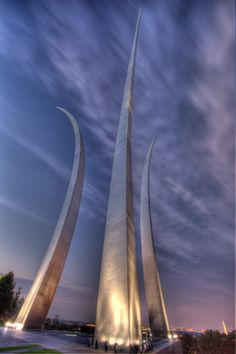 Air Force Memorial. The Air Force Memorial is a national place of pride, reverence and remembrance located just outside the Nation's Capital, in Arlington, Virginia. It is dedicated to the Men and Women of the United States Air Force and its Heritage Organizations. The Memorial was given to the nation during its formal dedication on October 14, 2006. http://www.airforcememorial.org/