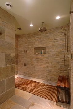 really like small tile Luxury Oasis Master Bathroom - contemporary - bathroom - toronto - Square Footage Custom Kitchens & Bath Inc. Bathroom Design, Stone Shower, Teak Shower, Teak Shower Floor, Showers Without Doors, Bathroom Shower Tile, Master Bathroom Shower, Teak Bathroom, Trendy Bathroom