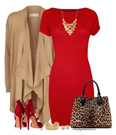 """""""Red Dress And Cardigan"""" by honkytonkdancer ❤ liked on Polyvore featuring MICHAEL Michael Kors, WearAll, Aquazzura, Diane Von Furstenberg, Charlotte Russe, reddress, leopardbag and hammeredjewelry"""