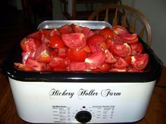 Hickery Holler Farm - using a roaster pan for making tomato sauce!