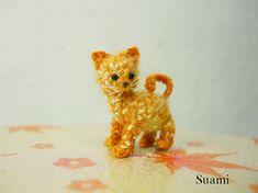 Piccolo gatto Ginger carino gattino Micro Mini Crochet di SuAmi