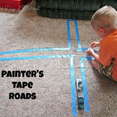 Painter's Tape Roads- keep kids busy while stuck inside during bad weather or over the Christmas break! Toddler Fun, Toddler Crafts, Kids Crafts, Toddler Stuff, Toddler Learning, Activities To Do, Indoor Activities, Kid Activites, Summer Activities