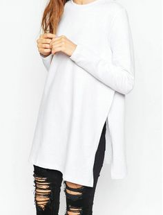 Stay warm and stylish in this super Side Split Pullover Sweater. Shoulder Width (Cm) S M L XL 50 51 52 53 Chest Width (Cm) S M L XL 98 102 106 110 Body Length (Cm) S M L XL 69 71 73 75 Sleeve Length (