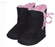 Pola Sepatu Bayi - Kiditude Boots Crib Sepatu, Hitam / Pink | Pusat Sepatu Bayi Terbesar dan Terlengkap Se indonesia