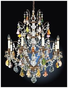 Schonbek Crystal Chandeliers - Crystals in every color on this Chandelier !