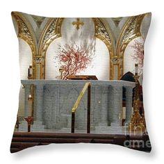 Main #Altar #SaintJospehs #Cathedral #Buffalo #NewYork Throw #Pillow by Rose Santuci-Sofranko .... #sale #gifts #interiordesign #interiordecoration #decor #home #throwpillows #artwork #Christmas #presents #Artist4God #RoseSantuciSofranko #designer #Catholic #Churches