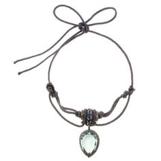 Lanvin Cord Necklace with Crystal Embellished Pendent