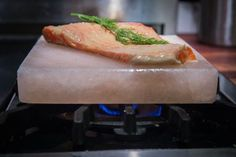 Using a Himalayan Salt Block is a great way to sear and season fish perfectly. This recipe for Himalayan Salt Block-Seared Copper River Salmon with Mustard Dill Glaze celebrates the prized Copper River Salmon of Alaska. Cooking Pork Roast, Cooking Pork Tenderloin, No Salt Recipes, Cooking Recipes, Cooking Ham, Cooking Fish, Salmon Recipes, Fish Recipes, Recipies