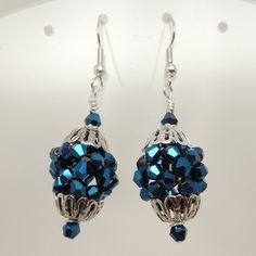 Metallic Blue Crystal and Silver Beaded Bead by DesignsbyAlladania, $13.50 SOLD