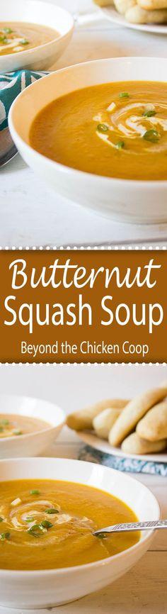 Butternut Squash Soup made with roasted butternut squash. Vegetarian, Vegan
