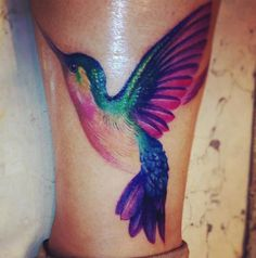 Hummingbird tattoo. Beautiful colors!