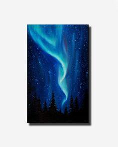 """Aurora Boreal Aurora Boreal óleo sobre lienzo paisaje pintura cielo estrellado ideas de regalo del cielo de la noche la pintura tamaño 20 x 32""""(los 50x80cm)"""