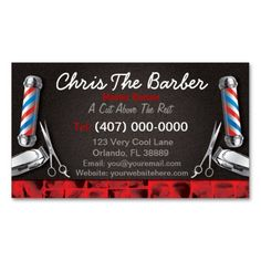 Barbershop Business Card (Barber pole and clippers Business Cards