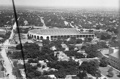 From the vantage point of the Tower deck, the landscape of the UT campus and the city of Austin has changed over the years. Here are views of the football stadium in 1936 and the present day. For a point of reference, part of Gregory Gym can be seen in the lower right of both images.