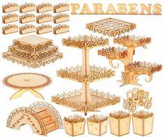 kit arabesco 33 peças festa provençal em mdf cru completo