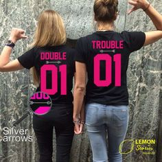 "Any number! Best Friends Couple T-shirts ""Double&Trouble"", Price for 1 T-shirt, couple T-shirts BFF"