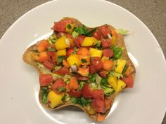 Upside down potato taco salad with mango, papaya and watermelon salsa.  Plant strong, no oil.
