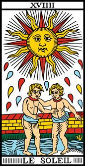 """Philippe Camoin and Alexandre Jodorowsky, """"The Sun,"""" Marseilles Tarot Deck (Rebuilt)  (Copyright © Camoin 1997-1998); a reconstruction of the deck drawn by Nicolas Conver in 1760."""