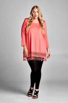 Plus Top-  95% Rayon 5% Spandex with Trim Lace