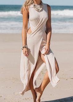 Apricot Sleeveless Hollow Split Maxi Dress -SheIn