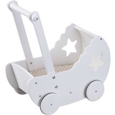 Cute doll pram in white wood with bedset and mattress. The pram has star cut outs at the sides and the bedset is beige with white dots. Barbie 90s, Star Cut Out, Dolls Prams, Bed Sets, Cute Dolls, Summer Activities, White Wood, Bedding Sets, Kids Room