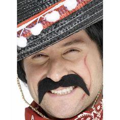 Mexican bandit style black moustache