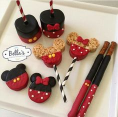 Mickey and Minnie Mouse sweets with striped straws