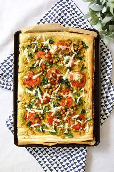 Spinach & Tomato Hummus Tart