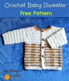 This cute crochet baby sweater was designed for a baby boy, but if you would change the colors,...