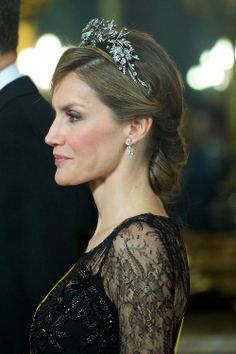 Crown Princess Letizia of Spain attend gala dinner at Royal Palace on 09.06.2014 in Madrid, Spain
