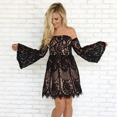 Cheers & Lace Mini Dress in Black Lace Dress, Strapless Dress, Bodycon Dress, Boutique Dresses, Boutique Clothing, New Outfits, Fashion Outfits, Holiday Party Dresses, Pretty Patterns