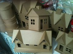 diy .. do this! paper mache houses christmas and trees