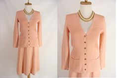 $124.44 Temporarily Reduced was 168.88 2pc St John Designed by Marie Gray PEACH Santana Knit Spring Skirt Suit with Gold SJ logo Buttons S M 6 8 by wardrobetheglobe on Etsy