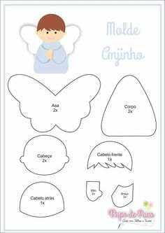 Bellow you have the template , you can do it with paper, felt or whatever you want. Felt Christmas Ornaments, Angel Ornaments, Christmas Crafts, Felt Diy, Felt Crafts, Diy And Crafts, Felt Angel, Felt Templates, Angel Crafts