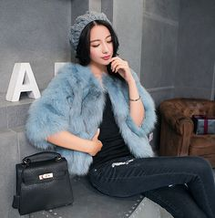 New Real 100%  Fox Fur Women Coat Jacket Overcoat Garment Clothing #AuMountian #BasicJacket