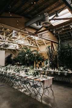 Wedding Venues Loving the lush greenery that gives this industrial space a natural twist Modern Minimalist Wedding, Minimal Wedding, Chic Wedding, Minimalist Wedding Reception, Elopement Wedding, Wedding Ideas, Wedding Shoot, Wedding Reception Food, Space Wedding