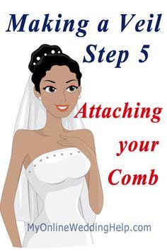 Make your own veil step 5: Attaching a comb. #myonlineweddinghelp
