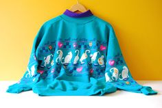 Vintage 80s Cat Sweatshirt. Kitschy Cat Sweatshirt. 'Milk and Kitties' by Art…