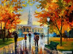 STROLL+IN+AN+OCTOBER+PARK+—+PALETTE+KNIFE+Oil+Painting+On+Canvas+By+Leonid+Afremov