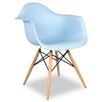 Blue Mid-Century Arm Chair with Wood Legs - Set of 2