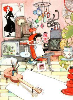 """Dumpster diver"" illustrations by David Roberts."