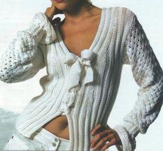 Terminación: Coser los hombros y los laterales del cuerpo y de las mangas. Adjuntar las mangas a las sisas. Con aguja para crochet, hacer ...