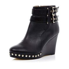 Black buckle stud wedges - ankle boots - shoes / boots - women