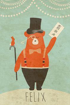 Geboortekaartje jongen - Felix - Beer met hoed - Pimpelpluis  https://www.facebook.com/pages/Pimpelpluis/188675421305550?ref=hl (# vintage - konijn - konijntje - dieren - strik - hoed - beer - circus - origineel)