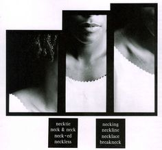 Lorna Simpson, Necklines, 1989, 3 gelatin silver prints, 2 engraved plastic…